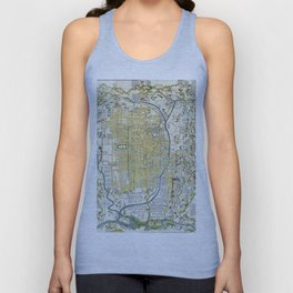 Japanese woodblock map of Kyoto, Japan, 1696 Unisex Tank Top