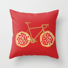 Bicycle Pizza Wheels Throw Pillow