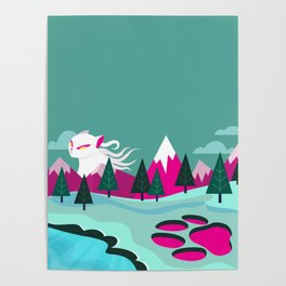 Monster Cat in the Mountains Poster