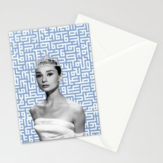 audrey - blue calligraphy background Stationery Cards