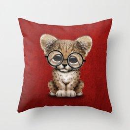 Cute Cheetah Cub Wearing Glasses on Deep Red Throw Pillow