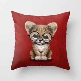 Cute Cheetah Cub Wearing Glasses on Deep Red Throw Pillow