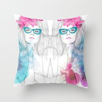 glasses Throw Pillows featuring Glasses by Camis Gray