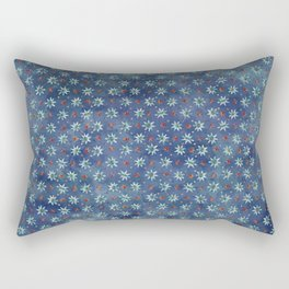 Amazing Watercolor Snowflakes Pattern on the dark blue background Rectangular Pillow