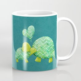 Sweet Turtle Hugs with Heart in Teal and Lime Green Coffee Mug