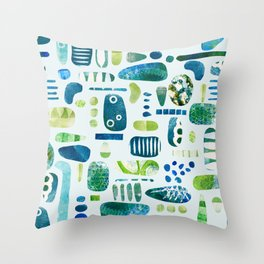 Blue Green Textures Throw Pillow