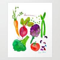 vegetables Art Prints featuring Vegetables by Frau Ottilie Illustration