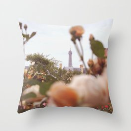 Flowers grow in Paris Throw Pillow