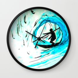 Solo - Surfing the big blue wave Wall Clock