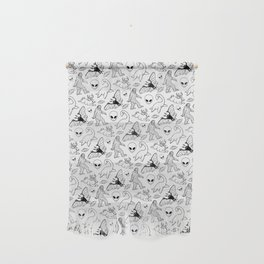 Cryptid Lineart Pattern 2 (White) Wall Hanging