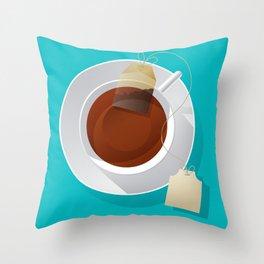 Teacup and teabag Throw Pillow