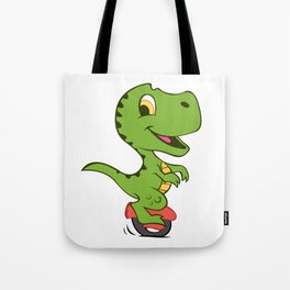 Cartoon dino on electric vehicle of a wheel Tote Bag
