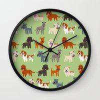irish Wall Clocks featuring IRISH DOGS by DoggieDrawings