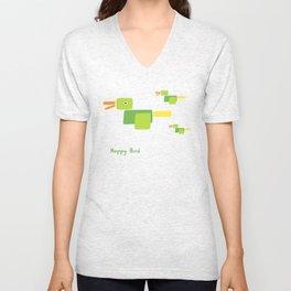 Happy Bird-Green Unisex V-Neck