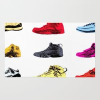 sneakers Area & Throw Rugs featuring Colorful Sneakers by RickART