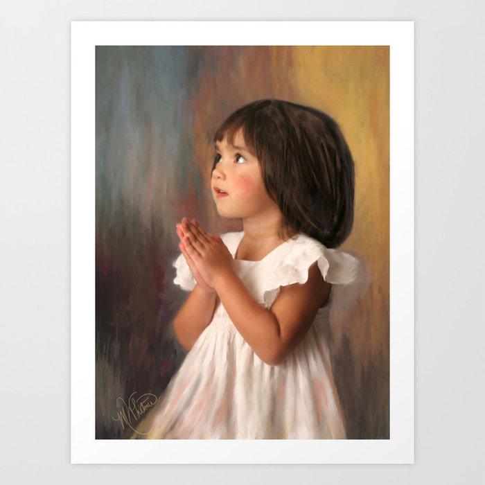 Precious child praying Art Print