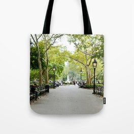 Morning Stroll in the Village Tote Bag