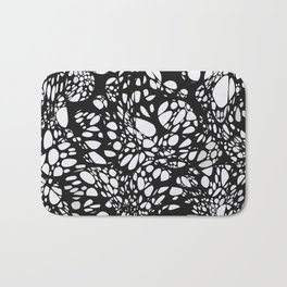 WEB black abstract lines on white background Bath Mat