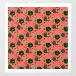 Floral Pattern   Forest Green on Living Coral Art Print