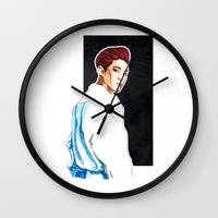 exo Wall Clocks featuring Chanyeol - Exo Overdose Era by Megan Haering