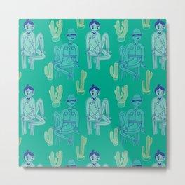Pattern Project #26 / Boy Girl Cactus Metal Print