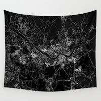 seoul Wall Tapestries featuring Seoul by Line Line Lines