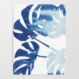 Navy Blue Tropical Leaf Poster