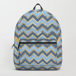 Elegant Gold and Blue Chevron Pattern Backpack