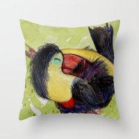 toucan Throw Pillows featuring Toucan by Pendientera