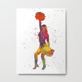 young woman Cheerleader Art Girl Poms Dance in watercolor 09 Metal Print