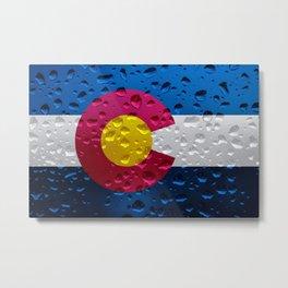 Flag of Colorado - Raindrops Metal Print
