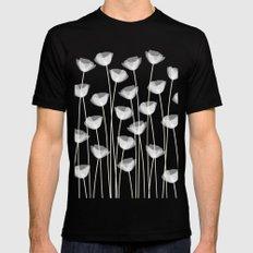 White Poppies Mens Fitted Tee Black MEDIUM