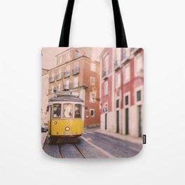Lisbon Yellow Trolley Tote Bag
