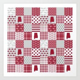Alabama bama crimson tide cheater quilt state college university pattern footabll Art Print