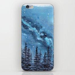 """Adventure Awaits"" watercolor galaxy landscape illustration iPhone Skin"