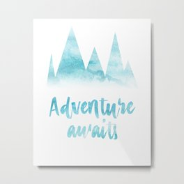 Adventure awaits blue watercolor Metal Print