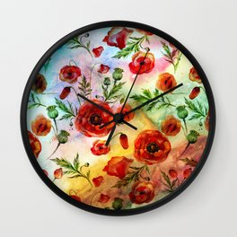 Poppy LOVE pattern- Poppies and Flowers on colorful watercolor background  on #Society6 Wall Clock