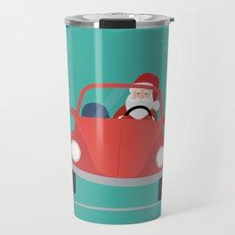 Santa Claus coming to you on his Car Sleigh Travel Mug