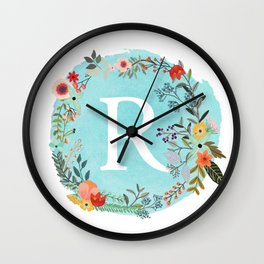 Personalized Monogram Initial Letter R Blue Watercolor Flower Wreath Artwork Wall Clock