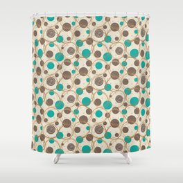 Brown and turquoise Shower Curtain