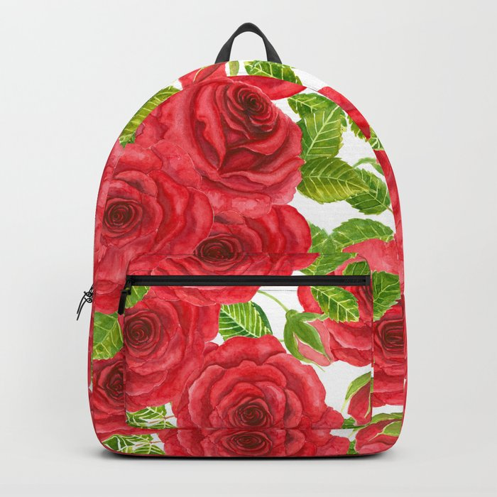 Red watercolor roses with leaves and buds pattern Backpack