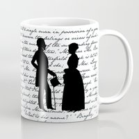 pride and prejudice Mugs featuring Pride and Prejudice design - White by Evie Seo