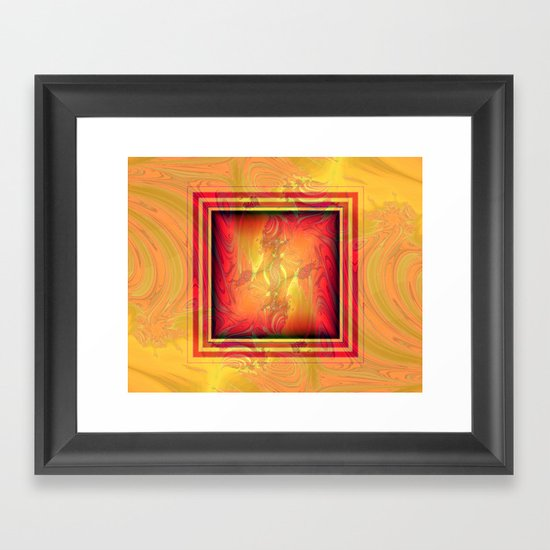 Vintage pattern orange red Framed Art Print