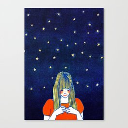 Girls in blue Canvas Print