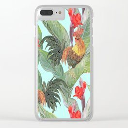 red fire roosters Clear iPhone Case