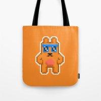 8bit Tote Bags featuring 8Bit RaveBear by Bear Picnic