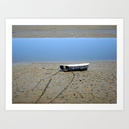 Rowing Boat on the Mudflats Art Print