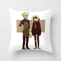 durarara Throw Pillows featuring Kids These Days by rhymewithrachel