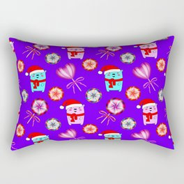 Baby bears with red Santa hats, vintage retro lollipops candy. Cute Christmas purple pattern Rectangular Pillow