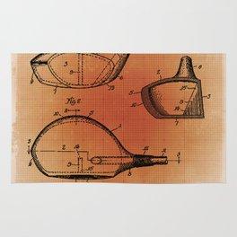 Golf Club Patent Blueprint Drawing Sepia Rug